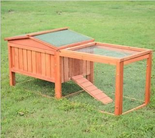 "62"" Outdoor Deluxe Wooden Rabbit House Hen Hutch Small Animal Pet Cage w Run"