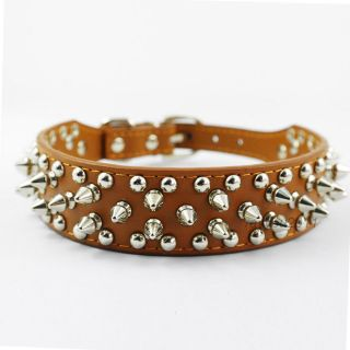 "Brown Spiked Studded Cute Rivets Soft Leather Dog Pet Collars Necklaces 13"" 15"""
