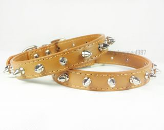 Spiked Studded PU Leather Collars Small Dog Cat Puppy Pet Collar Brown Size S