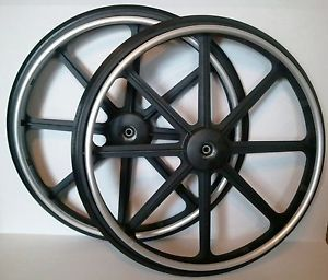 "1 Pair 24"" x 1"" Invacare Wheelchair Parts Rear Wheels Tires Rims Solid Rubber"