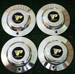 Set of 4 Progressive Chrome Alloy Wheel Center Hubcaps Custom Hub Caps Cover