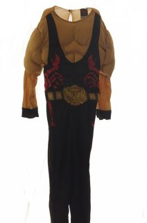 Boys TNA Wresting Wrestler Halloween Muscle Costume Red Black Belt Small 6 New