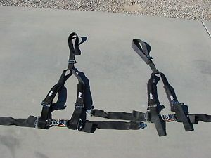 "2 Yamaha Rhino PRP 4 Point Y Harness Seat Belts Sewn in Pads 2"" Harness Black"