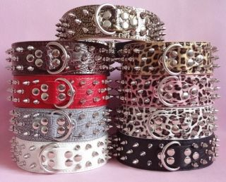 Spiked Studded Dog Collars Leather for Large Dog Pit Bull Terrier Collars s M L