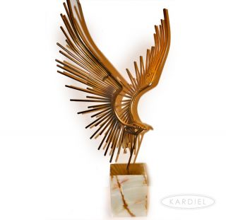 Curtis C Jere Original ► 1977 Flying Eagle Bird Metal Sculpture on A Marble Base