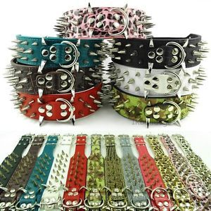 "17 24"" M L XL 2inch Spiked Studded Leather Dog Collars for Pitbull Mastaff"