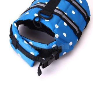 Pet Dog Polka Dots Life Jacket Vest Safety Vest Swimming Preserver Saver Size S