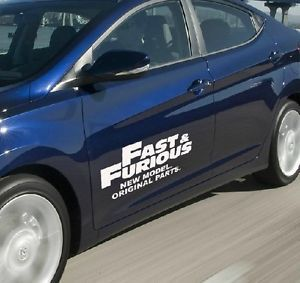 """Fast and Furious"" Car Side Door Body Reflective Stickers Auto DIY Decals White"
