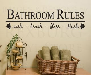 Wall Decal Sticker Quote Vinyl Art Bathroom Rules Wash Brush Floss Flush BA03