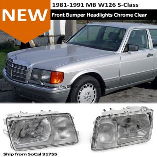 81 91 MB W126 s Class Front Bumper Conversion Headlight Replacement Chrome Clear