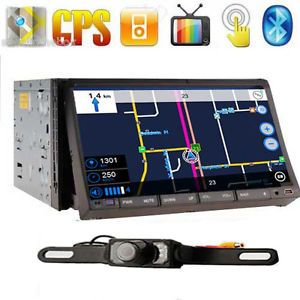 "GPS Navigator 7"" HD Double 2 DIN Car Stereo DVD Player Radio Bluetooth iPod Cam"