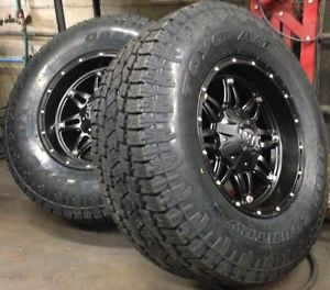 "5 17"" Fuel Hostage Black Wheels Jeep Wrangler JK 33"" Toyo AT2 Tires Package"