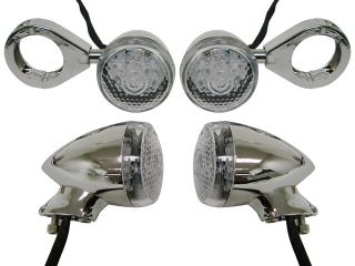 Chrome Turn Signal Fog Light 41mm Relocation Fork Clamp Harley Dyna Sportster XL