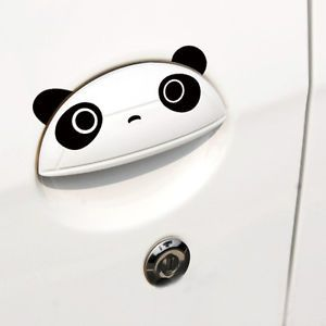 4X Black Cute Panda Car Body Decals Rearview Mirror Sticker Door Handles Sticker