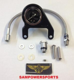 Arlen Ness Black Liquid Filled Oil Pressure Gauge Kit Harley Evolution Big Twins