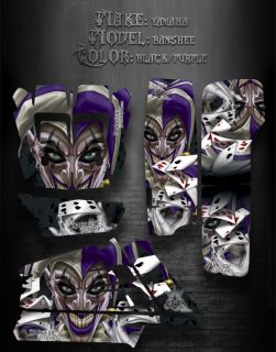 "Yamaha Banshee ATV Graphics ""The Jesters Grin"" Black and Purple Model"