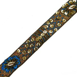 Thin Turquoise Blue Beaded Trim Sewing Sequin Border Lace Craft India 3 Yd