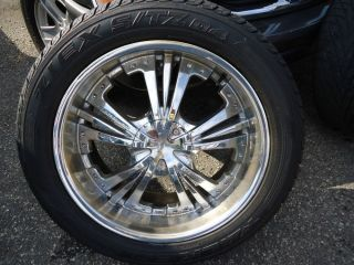 "Set of 4 Four Chrome Wheels 22"" and Toyo Falken Tires 305 45 22 Nissan Titan NJ"