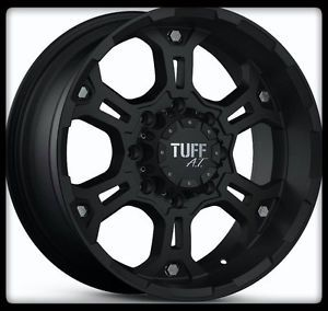 "16"" x 8"" Tuff T03 Black Rims 225 70 16 Toyo Open Country A T Wheels Tires"