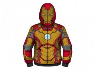 Marvel Comics Iron Man 3 Mark 42 Full Zip Adult Men Size Costume Hoodie Red
