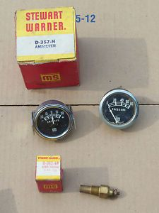 Stewart Warner Ammeter and Temp Sending Unit Used Oil Pressure Gauge