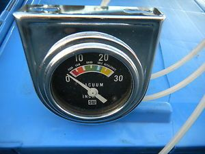 Vintage Stewart Warner Engine Vacuum Gauge Wnos Under Dash Chrome Mounting Panel