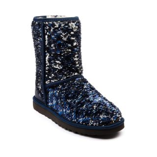 Womens UGG® Classic Short Sequin Boot, Navy Sparkle