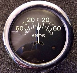 Vintage Stewart Warner Curved Glass Amp Amps Gauge for A 1932 Ford Rat Rod Scta