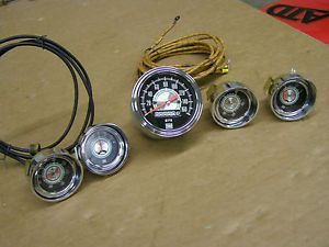 Stewart Warner Green Line Gauge Set Speedometer Fuel Temperature Oil