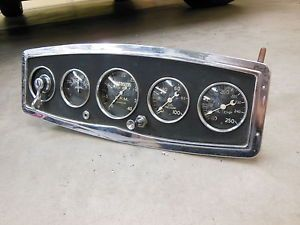 Vintage Stewart Warner 5 Gauge Panel Instrument Cluster SW Tach RPM Hot Rod Scta