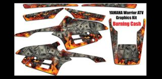 Yamaha Warrior Graphic Decal Kit Vinyl ATV Burning Cash