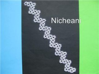 Tatting Lace Premade Page Border Zig Zag Trim Edging Victorian Shabby Chic White