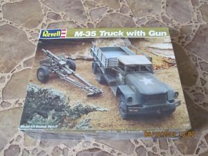 "Revell Military Truck Model Kit "" M 35 Truck with Gun "" SEALED 1 40 1989"