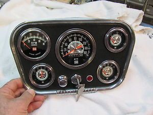Vintage Stewart Warner Green Line Gauges and Navigator Panel w Tachometer