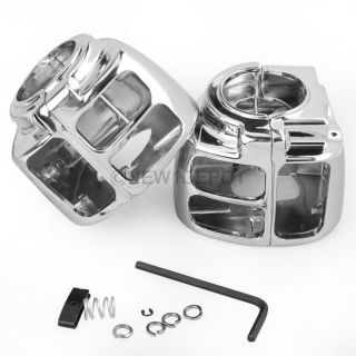 Chrome Switch Housings Cover for Harley Davidson Dyna Softail Sportster 1996 06