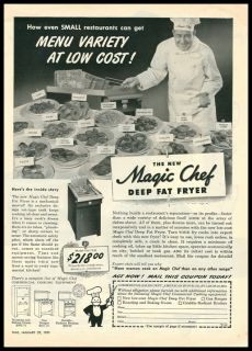 1951 Vintage Ad for Magic Chef Deep Fat Fryer