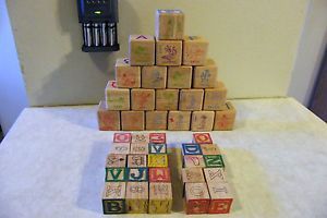Alphabet Number Word Wood Wooden Building Blocks 19 Disney 24 Smaller Other
