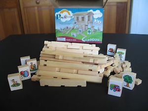 Playgreen Wooden Building Blocks 100 Pieces Linking Logs