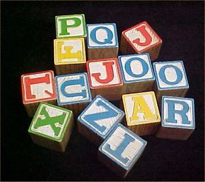 Vintage Wooden Alphabet Blocks Toy Baby Wood Building Crafts Fun Lot