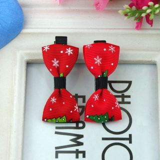 One Pair 2pcs Cute Christmas Tree Barrettes Hairclips Baby Girl Toddler 074