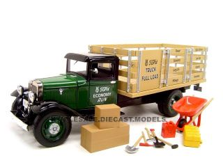1934 Ford Stake Bed Truck Green w Accessories 1 24 by Unique Replicas 18616
