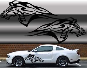 "Universal Mustang Flaming Horse Truck or Car Decal Set in Black 23""X55"""