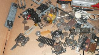 Mixed Vintage Lot of HO Scale Train Cars Engine Parts Wheels as Is