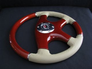 "New 14"" Tan Leather Wood Grain Steering Wheel"