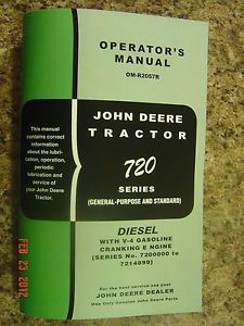 John Deere 720 Diesel Tractor Operators Manual 720D D Cranking Engine Pony Early