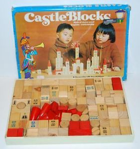 Vintage Castle Blocks Set of 100 Wooden Building Blocks Toy w Wood Tray
