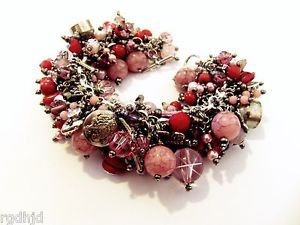 Pink Red Charm Bracelet Earring Set Silver Hearts Vintage Beads Buttons