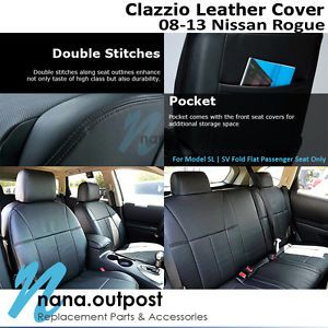 Clazzio Custom Perfect Fit Leather Seat Cover Black for 08 12 Nissan Rogue SL SV