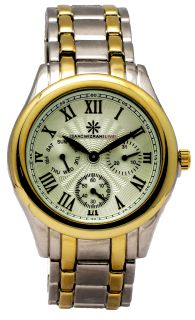 Isaac Mizrahi Live Men's Cream Gold Tone Round Chronograph Analog Dress Watch