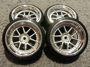 4 Brand New HPI E10 Drift Wheels and Tires HRE Chrome Falken Azenis Type A Drift